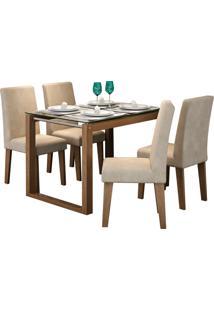 Conjunto De Mesa Anita Para Sala De Jantar Com E 4 Cadeiras Milena -Cimol - Savana / Suede Bege