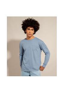 Camiseta De Algodão Básica Com Bolso Manga Longa Decote Redondo Azul