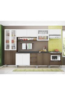 Cozinha Compacta Emanuella 13 Pt 4 Gv Castanho E Branca