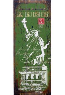 Quadro Kasa Ideia De Madeira Estatua Da Liberdade 80X30Cm