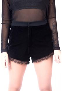 Short Up Side Wear Veludo Preto