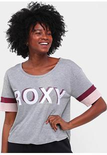 Camiseta Roxy Super Feminina - Feminino-Cinza+Chumbo