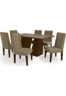 Conjunto Mesa Romã Com 6 Cadeiras Walnut