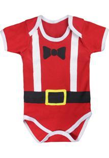 Body De Bebê Manga Curta Tema Natal Gravatinha