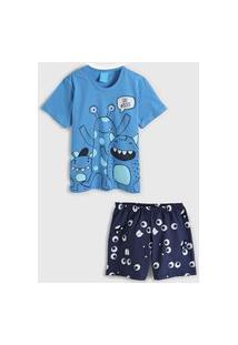 Pijama Kamylus Curto Infantil Monstrinho Azul