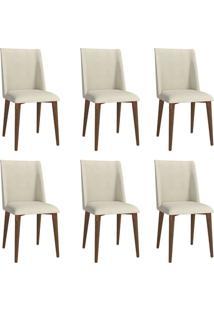 Conjunto Com 6 Cadeiras De Jantar Thyra Bege