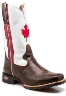 Bota Texana Country Capelli Couro Bandeira Canadá Bico Quadrado Masculina - Masculino-Marrom+Branco