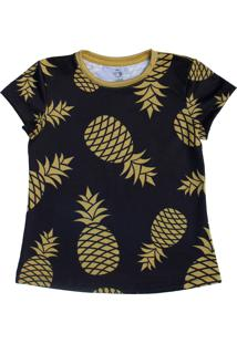 T-Shirt Menina Manga Curta Abacaxi Dourado Preta