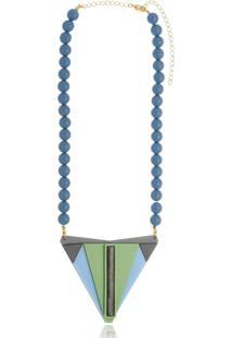 Colar Le Diamond Maia Com Resinas Azul - Kanui