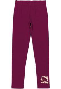 Calça Legging Cotton Bebê Hello Kitty Feminina - Feminino-Vermelho Escuro