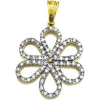 Pingente Prata Mil Flor C  Zircônia Folheado Em Ouro Dourada 2c69417f9a26f