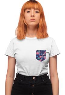 Camiseta Basica My T-Shirt Bolso Estampado Folhagem Branco - Kanui