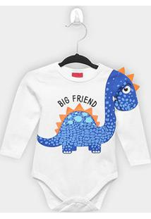 Body Bebê Kyly Manga Longa Dino Big Friend - Masculino-Branco