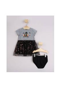 Vestido Infantil Halloween Com Tule Manga Curta + Calcinha Cinza Mescla