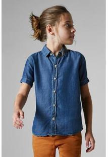 Camisa Jeans Mc Vista Alegre Reserva Mini Infantil Masculina - Masculino-Azul