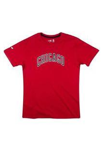 Camiseta New Era Nba Chicago Bulls College Script Feminina - Vermelho