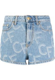 Chiara Ferragni Short Jeans Com Estampa De Logo - Azul