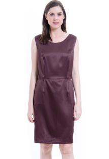 Vestido 101 Resort Wear Social Tubo Alfaiataria Crepe Elastano Marrom