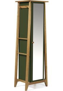Sapateira Stoka Com Espelho Nogal E Verde Musgo
