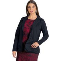 709c83b1a0 Blazer Quintess Plus Size Feminino - Feminino-Preto