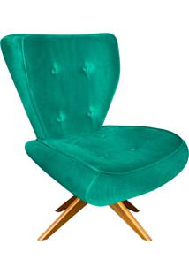 Poltrona Decorativa Tathy Suede Verde Tiffany Com Base Giratória De Madeira - D'Rossi