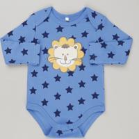 Body Infantil Leão Estampado De Estrelas Manga Longa Azul e61dce14e56