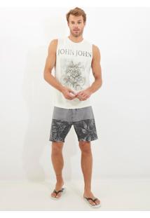 Bermuda John John D'Água Grayscale Beachwear Estampado Masculina (Estampado, 46)