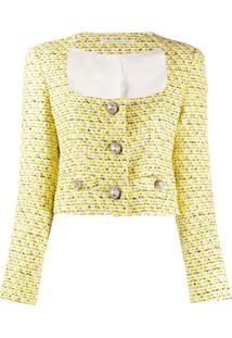 Alessandra Rich Jaqueta Cropped De Tweed - Amarelo
