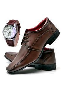 Sapato Social Masculino Db Now Com Relógio Dubuy 804Od Marrom