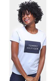 Camiseta Tommy Hilfiger Estampada Feminina - Feminino-Azul Claro
