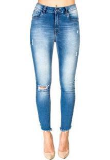 Calça Jeans Destroyed Skinny Handbook - Feminino-Azul