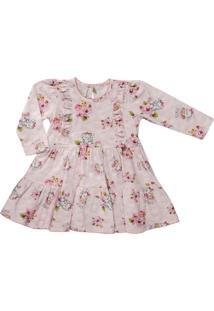 Vestido Para Bebê Cotton Coelhinhas Com Flores- Anjos Baby Rosa