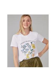 Amaro Feminino T-Shirt Crazy Plant Lady, Branco