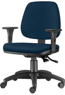 Cadeira Job Com Bracos Assento Courino Azul Escuro Base Nylon Arcada - 54615 Sun House