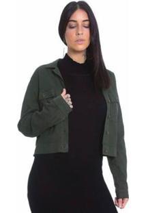 Jaqueta Bomber De Sarja Le Julie Feminina - Feminino-Verde Militar