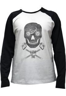Camiseta Alkary Raglan Manga Longa Bmx Caveira Branca E Preta