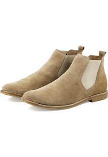Bota Chelsea Atron Shoes De Couro Bege