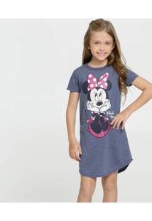 Vestido Infantil Estampa Minnie Manga Curta Disney