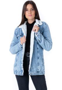 Jaqueta Pkd Jeans Com Forro De Pelo Alongada - Tricae