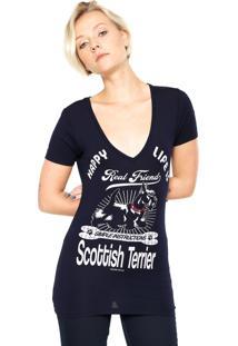 Camiseta Lez A Lez Estampada Azul-Marinho