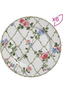 Conjunto De Pratos Para Sobremesa Floral- Rosa Claro & Vscalla Cerâmica