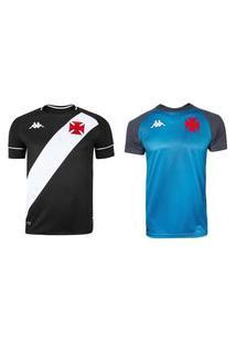 Kit Kappa 2 Camisas Vasco 2020 Home E Treino Masculino