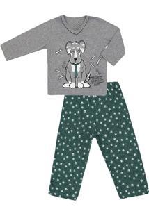 Pijama Longo Masculino Malha Vira-Lata - Masculino-Cinza