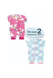 Roupa Bebê 2 Macacão Menina P Ao 3 Enxoval Recém Nascido Multicolorido