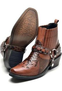 Bota Country Su Fashion Store Cano Curto Em Couro Cabresto Removivel Masculina - Masculino-Marrom