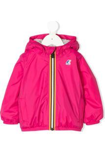 K Way Kids Logo Hooded Rain Jacket - Rosa