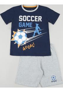 "Pijama Infantil ""Soccer Game"" Manga Curta Azul Marinho"