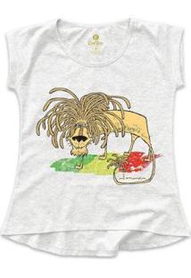 Camiseta T-Shirt Geek Cool Tees Quadrinhos Leão Jamaica Bob Marley Feminina - Feminino-Mescla Claro