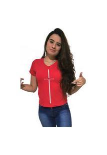 Camiseta Feminina Gola V Cellos Stripe Premium Vermelho