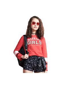 Casaco Ml Moletom Weekend Girls Vermelho I Am 12 Vermelho
